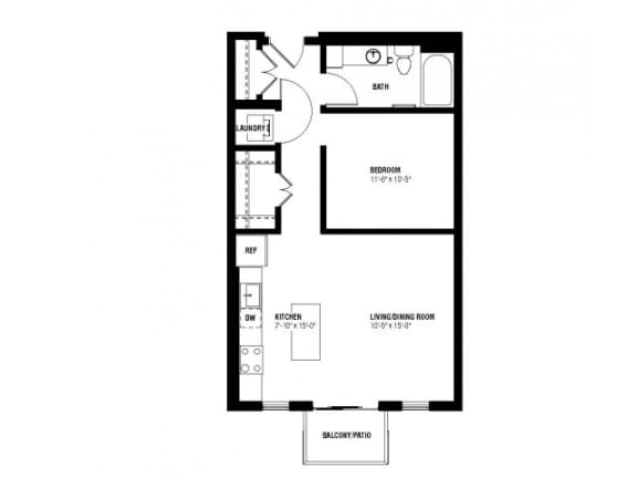 Floor Plan  Divine Alcove Floor Plan (0 beds, 1 baths, 633 sq.ft, rent $1,419-$1,530/month)