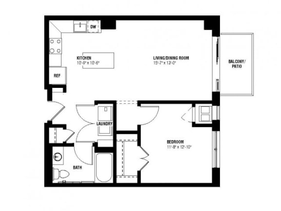 Floor Plan  Echo Floor Plan (1 beds, 1 baths, 718 sq.ft, rent $1,615/month)