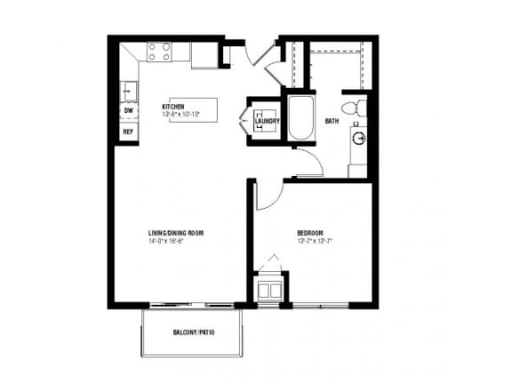 Floor Plan  Flip Floor Plan (1 beds, 1 baths, 739 sq.ft, rent $1,555-$1,665/month)