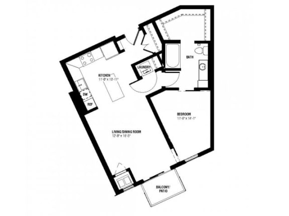 Floor Plan  Julius Floor Plan (1 beds, 1 baths, 665-686 sq.ft, rent $1,530-$1,590/month)