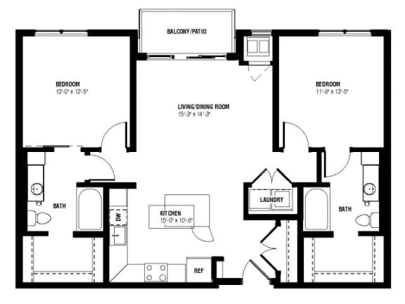 Floor Plan  Marquee Floor Plan (2 beds, 2 baths, 1004-1058 sq.ft, rent $2,040-$2,110/month)