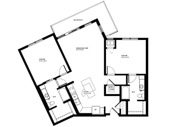 Floor Plan  Opulent Floor Plan (2 beds, 2 baths, 1125-1180 sq.ft, rent $2,260-$2,370/month)