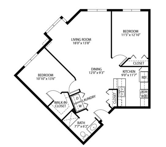 Floor Plan  Heritage Place Apartments 55+ Community in Rogers, MN 2 Bedroom 1 Bathroom