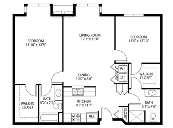 Floor Plan  Heritage Place Apartments 55+ Community in Rogers, MN 2 Bedroom 2 Bathroom