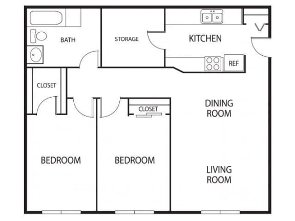 Floor Plan  Hidden Valley Apartments in Savage, MN 2 Bedroom 1 Bathroom Apartment
