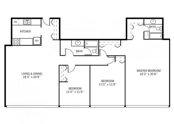 Floor Plan  Kellogg Square Apartments in St. Paul, MN 3 Bedroom 2 Bathroom Apartment