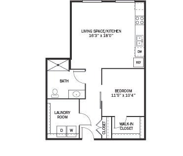 Floor Plan  Kellogg Square Apartments in St. Paul, MN 1 Bedroom 1 Bath Apartment