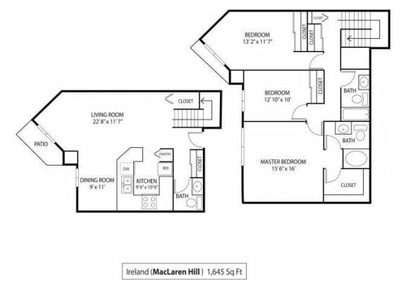 Floor Plan  MacLaren Hill Apartments in St. Paul, MN 3 Bedroom 2.5 Bathroom Apartment