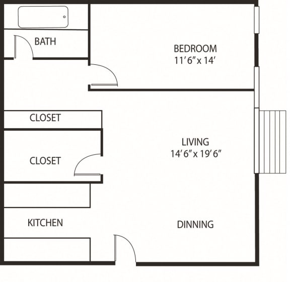 Floor Plan  Lou Park Apartments in St. Louis Park, MN 1 Bedroom 1 Bathroom Floor Plan