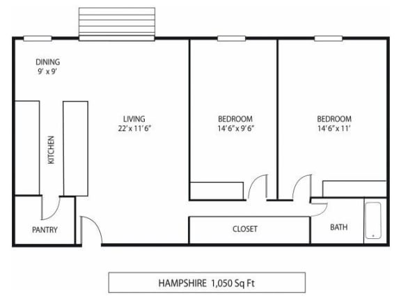 Floor Plan  Lou Park Apartments in St. Louis Park, MN 2 Bedroom 1 Bathroom Floor Plan