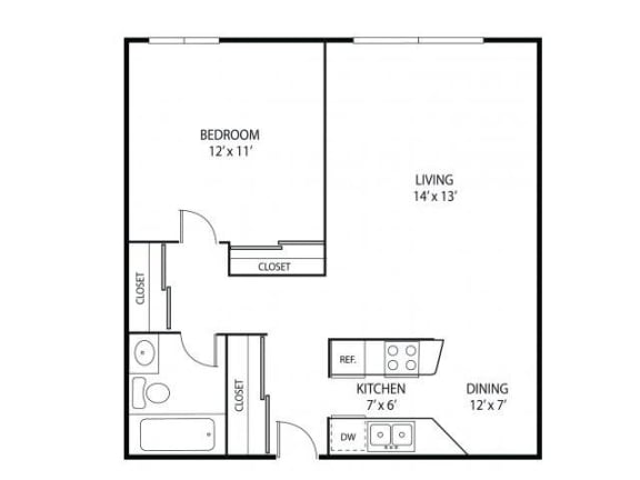 Floor Plan  Minnehaha Manor Apartments in Oakdale, MN 1 Bedroom 1 Bathroom