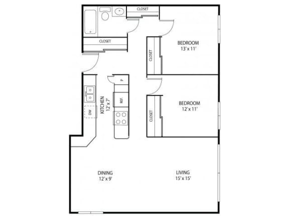 Floor Plan  Minnehaha Manor Apartments in Oakdale, MN 2 Bedroom 1 Bathroom