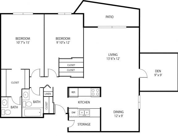 Floor Plan  Oakwood Apartments in Plymouth, MN 2 Bedroom 1.5 Bath Plus Den