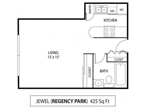 Floor Plan  Regency Park Apartments in North St. Paul, MN Studio Apartment