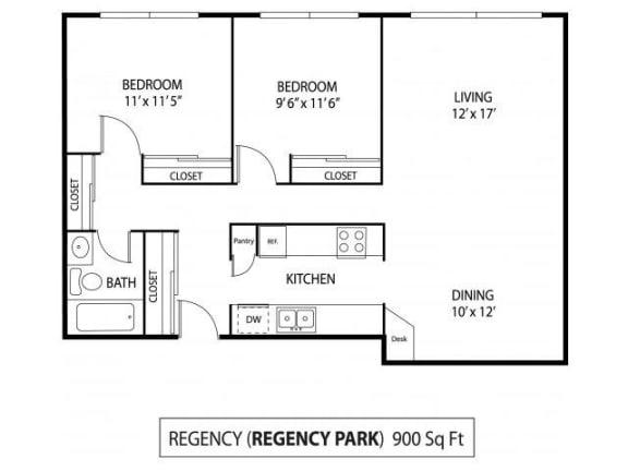Floor Plan  Regency Park Apartments in North St. Paul, MN 2 Bedroom 1 Bath