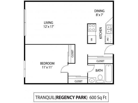 Floor Plan  Regency Park Apartments in North St. Paul, MN 1 Bedroom 1 Bath