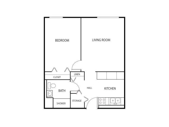 Floor Plan  Robbins Landing Apartments in Robbinsdale, MN 1 Bedroom 1 Bath