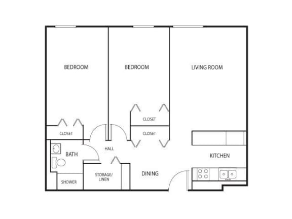 Floor Plan  Robbins Landing Apartments in Robbinsdale, MN 2 Bedroom 1 Bath