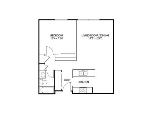 Floor Plan  Silver Ridge Apartments in Maplewood, MN 1 Bedroom 1 Bath