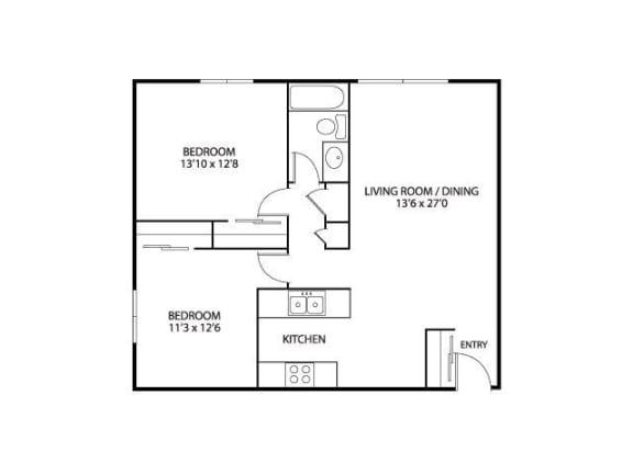 Floor Plan  Silver Ridge Apartments in Maplewood, MN 2 Bedroom 1 Bath