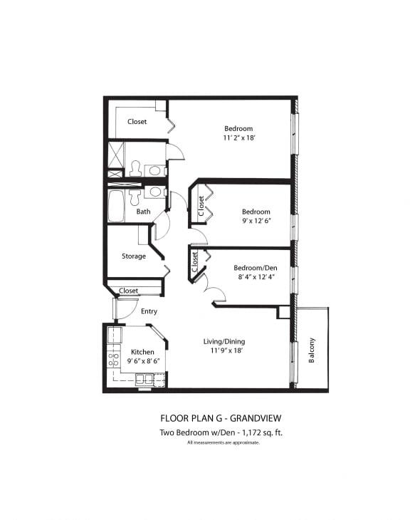Floor Plan  Vernon Terrace of Edina in Edina, MN 55+ Community 2 Bedroom 2 Bath