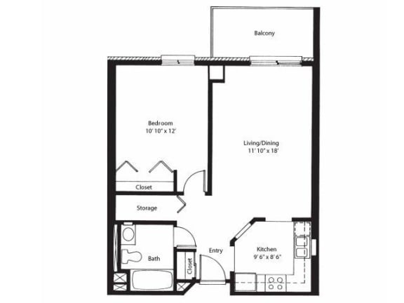 Floor Plan  Vernon Terrace of Edina in Edina, MN 55+ Community 1 Bedroom 1 Bath