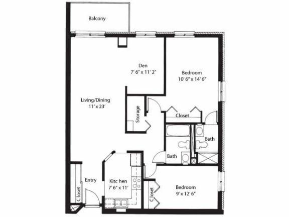 Floor Plan  Vernon Terrace of Edina in Edina, MN 55+ Community 2 Bedroom 2 Bath Plus Den