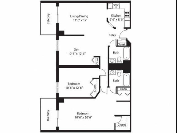 Floor Plan  Vernon Terrace of Edina in Edina, MN 55+ Community 2 Bedroom 12Bath Plus Den