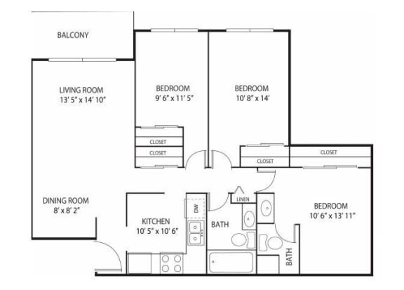 Floor Plan  Willow Pond Apartments in Burnsville, MN 3 Bedroom 2 Bath