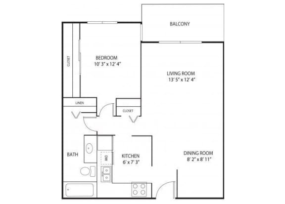 Floor Plan  Willow Pond Apartments in Burnsville, MN 1 Bedroom 1 Bath