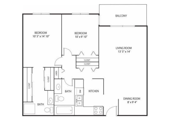 Floor Plan  Willow Pond Apartments in Burnsville, MN 2 Bedroom 2 Bath