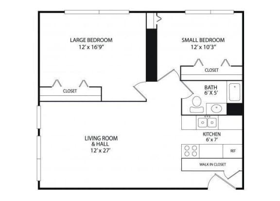 Floor Plan  Winslow Commons Apartments in St. Paul, MN 2 Bedroom 1 Bath