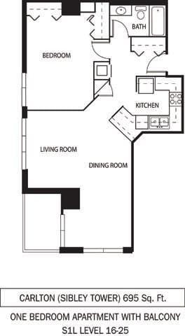 Floor Plan  Galtier Towers Apartments in Lowertown, St. Paul, MN 1 Bedroom 1 Bath Apartment