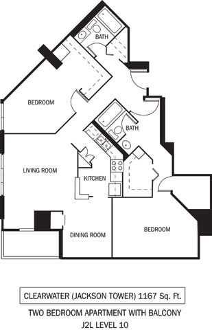 Clearwater Floor Plan Galtier Towers Apartments in Lowertown, St. Paul, MN 2 Bedroom 2 Bath Apartment