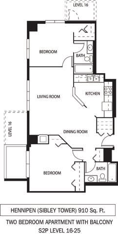 Floor Plan  Galtier Towers Apartments in Lowertown, St. Paul, MN 2 Bedroom 2 Bath Apartment