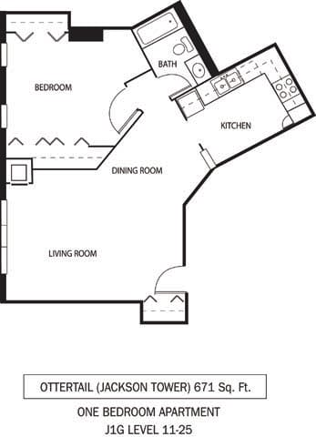 Floor Plan  Galtier Towers Apartments in Lowertown, St. Paul, MN 1 Bedroom 1 Bath Apartment