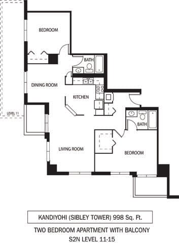 Floor Plan  Galtier Towers Apartments in Lowertown, St. Paul, MN 2 Bedroom 2 Bath Apartment, opens a dialog