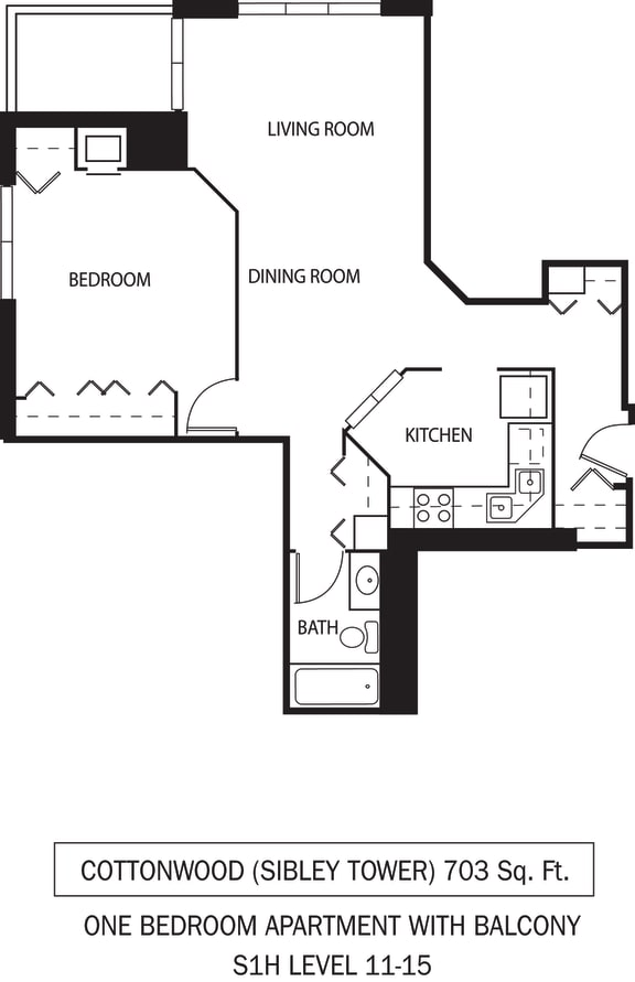 Floor Plan  Galtier Towers Apartments in Lowertown, St. Paul, MN 1 Bedroom 1 Bath Apartment Cottonwood Floor Plan