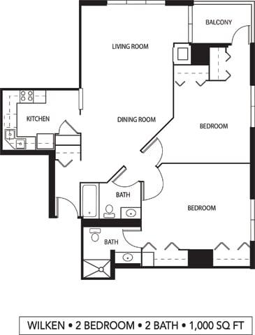 Floor Plan  Galtier Towers Apartments in Lowertown, St. Paul, MN 2 Bedroom 2 Bath Apartment