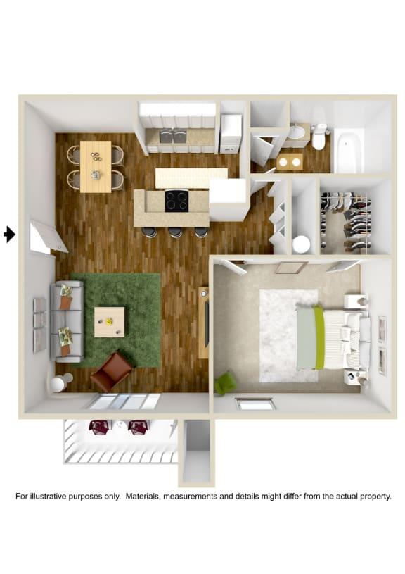 1 Bedroom 1 Bath Floor Plan at The Grove at Lyndon, Kentucky