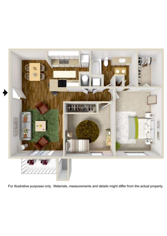 2 Bedroom 1 Bath Floor Plan at The Grove at Lyndon, Kentucky, 40222