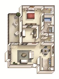 The Westfield Floor Plan at Woodcreek Apartments, Cary, NC, 27511