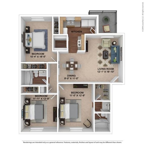 The Franklin Floor Plan at Lake Johnson Mews, North Carolina, 27606