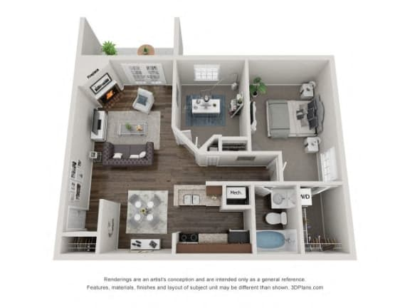 Floor Plan  2Bd1Ba WILLOW Floor Plans at Brookdale on the Park, Naperville, IL, 60563