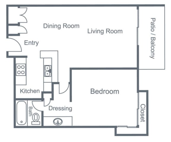 Floor Plan  Rochester 1 Bed 1 Bath Floorplan at Madison Park Apartment Homes, Anaheim, CA, 92804