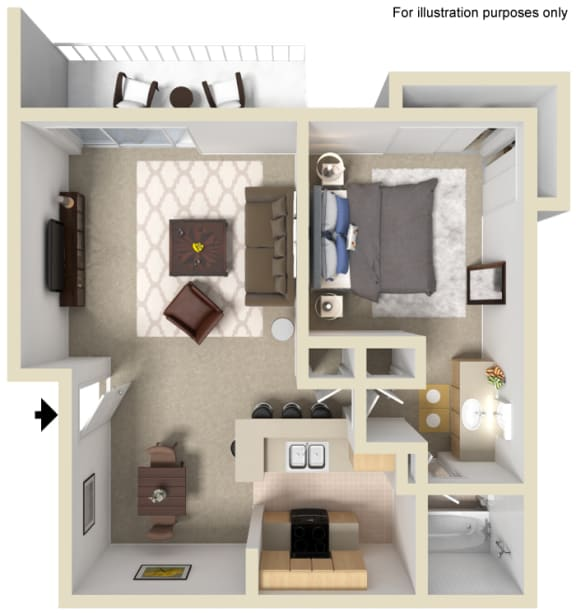 Floor Plan  Saratoga Floor Plan - 1 Bed 1 Bath, at The Madison Park Apartment Homes, California