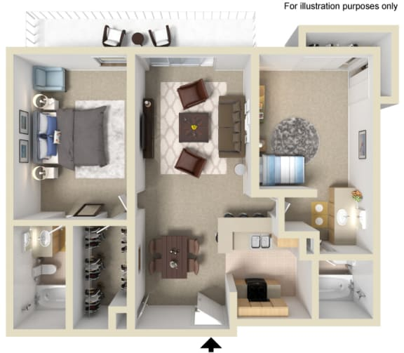 Floor Plan  Hampton Floor Plan - 2 Bed 2 Bath, at The Madison Park Apartment Homes, Anaheim, CA 92804