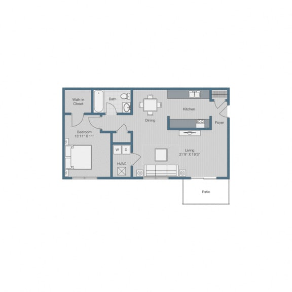 1 Bedroom/ 1 Bath Floor Plan at Sterling Beaufont Apartments