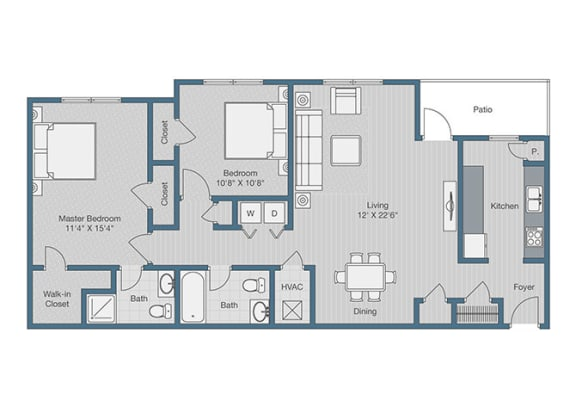 2 Bedroom/ 2 Bath Floor Plan at Sterling Beaufont Apartments