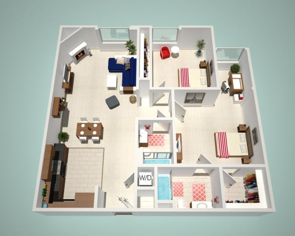Floor Plan  2 Bed - 2 Bath B Floor Plan at The Social, North Hollywood
